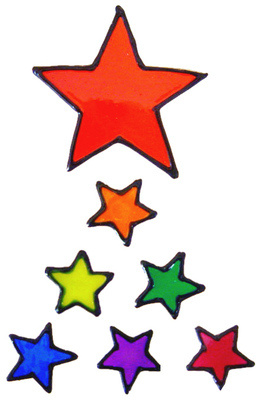 917 - Rainbow Stars handmade peelable window cling decoration