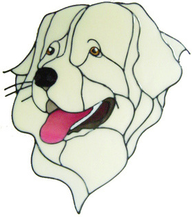 911 - Pyrenean Mountain Dog handmade peelable window cling decoration