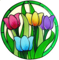 926 - Colourful Tulips handmade peelable window cling decoration