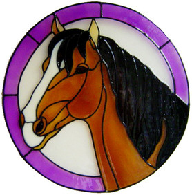 666 / 1195 - Horse in Frame - Handmade peelable static window cling decoration