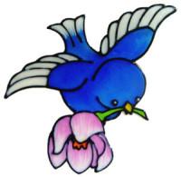 916 - Bluebird with Flower handmade peelable window cling decoration