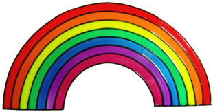 935 - Rainbow handmade peelable window cling decoration (different sizes available)