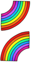937 - Pair of Rainbow Corners handmade peelable window cling decoration