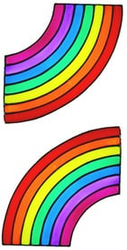 937 - Pair of Rainbow Corners handmade peelable window cling decoration (different sizes available)