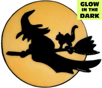 940 - Glow in the Dark Witch handmade peelable window cling decoration
