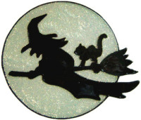 941 - Silhouette Witch handmade peelable window cling decoration