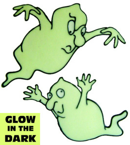 939 - Two Glow in the Dark Ghosties handmade peelable window decoration