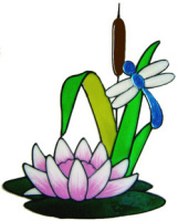 546 - Waterlily and Dragonfly - Handmade peelable static window cling decoration