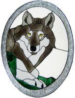 949 - Wolf Oval handmade peelable window cling decoration