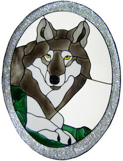 949 - Wolf Oval handmade peelable window cling decoration