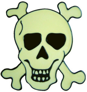 833 - Skull & Crossbones handmade peelable window cling decoration