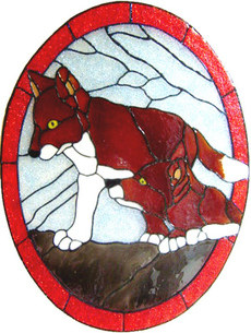 915 - Fox Cubs Oval handmade peelable window cling decoration