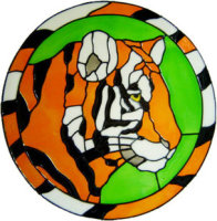617 - Tiger Head - Handmade peelable static window cling decoration