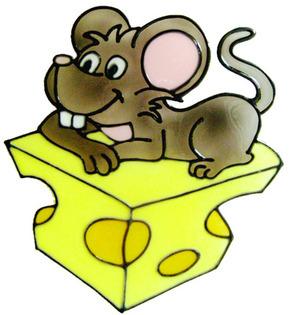 932 - Happy Mouse handmade peelable window decoration