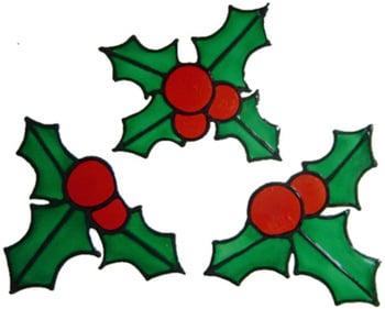 938 - Small Holly Leaves handmade peelable window decoration