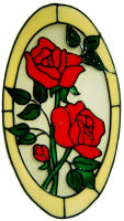 51 - Double Rose Oval - Handmade peelable static window cling decoration