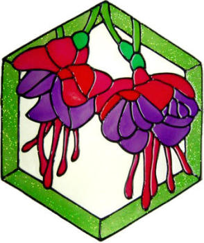 950 - Fuchsia Panel handmade peelable window cling decoration