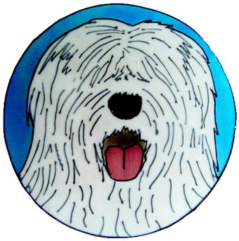 923 - Old English Sheepdog handmade peelable window cling decoration
