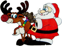 961 - Santa and Rudolf christmas handmade peelable window cling decoration
