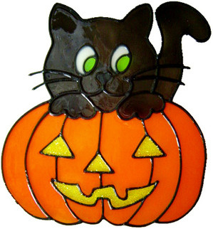 80 - Cat and Pumpkin - Handmade peelable Halloween window cling decoration