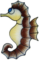 28 - Seahorse handmade peelable window cling decoration
