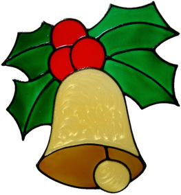 16 - Christmas Bell & Holly handmade peelable window cling decoration
