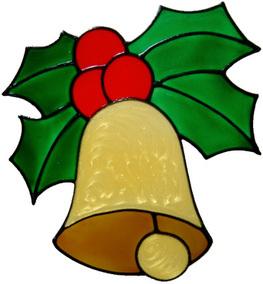 16 - Christmas Bell & Holly handmade peelable window cling decoration