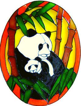 597 - Panda Frame - Handmade peelable static window cling decoration