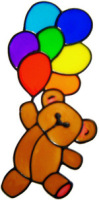 57 - Teddy with Balloons - Handmade peelable static window cling decoration