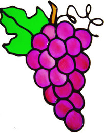457 - Bunch of Grapes handmade peelable window cling decoration