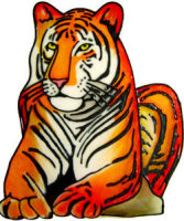 535 - Large Tiger - Handmade peelable static window cling decoration
