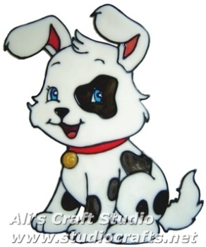 380 - Patch Puppy handmade peelable window cling decoration