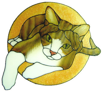 999 - Reclining Cat Frame handmade peelable window cling decoration