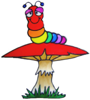345 - Rainbow Worm on Toadstool handmade peelable window cling decoration