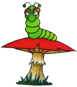 345 - Worm on Toadstool handmade peelable window cling decoration