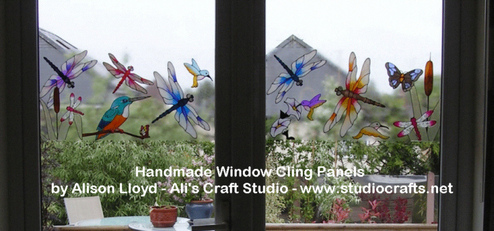 Handmade Window Cling Panels - Dragonflies & Butterflies