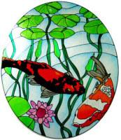 1007 - Koi Pond Handmade Peelable window cling