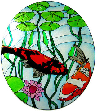 1007 - Koi Pond Handmade Peelable window cling