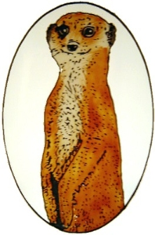 1027 - Meerkat Oval handmade window cling