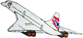 952 - Concorde - Handmade peelable static window cling decoration