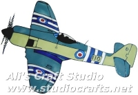 954 - Hawker Sea Fury - Handmade peelable static window cling decoration
