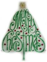 971 - Merry Christmas Tree handmade peelable window cling decoration
