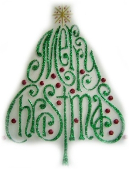 971 - Merry Christmas Tree handmade peelable window cling decoration