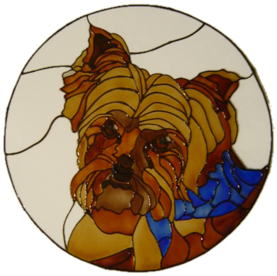 1040 - Yorkshire Terrier in Frame - Handmade peelable static window cling
