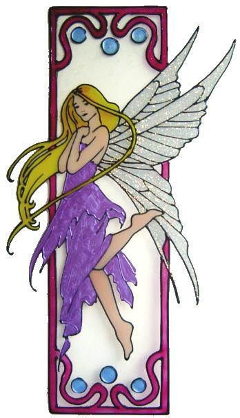 1089 - Fairy in frame handmade peelable window cling decoration