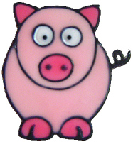 1110- Diddy Piggy handmade peelable window cling decoration
