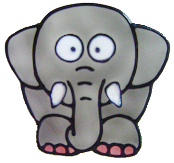 1112- Diddy Elephant handmade peelable window cling decoration