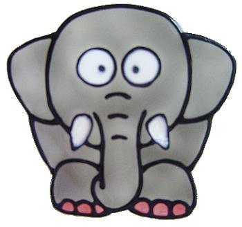 1112- Diddy Elephant handmade peelable window cling decoration