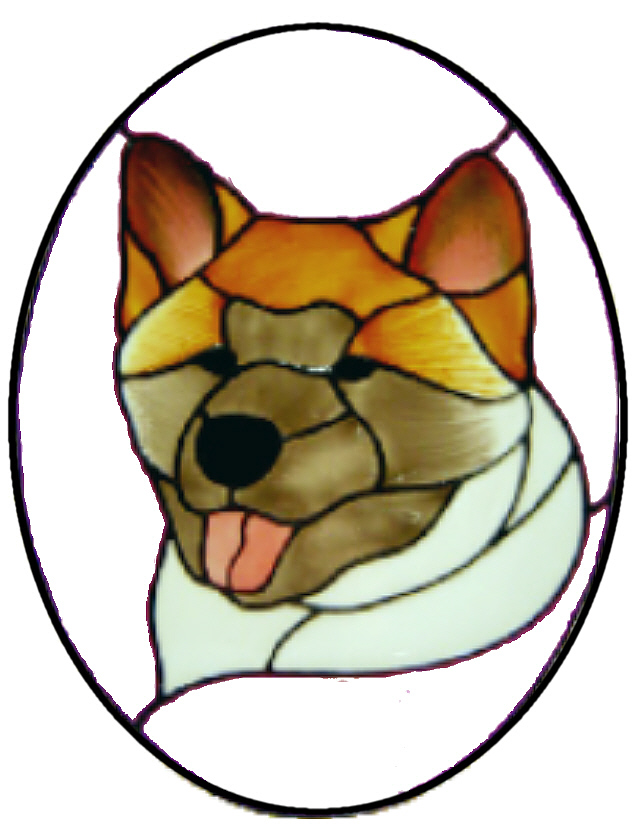 905 - Japanese Akita in Frame - Handmade peelable static window cling