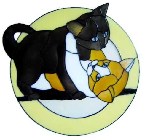 988 - Rough and Tumble Cats. Handmade peelable static window cling decorati